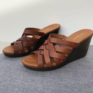 Cole Haan Tan Braided Wedge Sandal 8.5